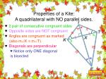 properties of a kite a quadrilateral with no parallel sides