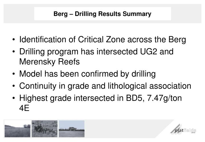 Berg – Drilling Results Summary