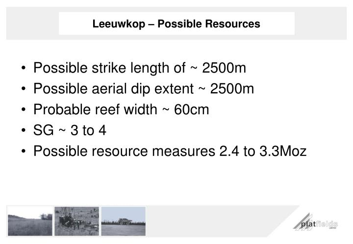 Leeuwkop – Possible Resources
