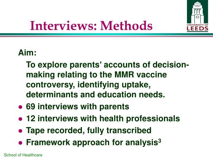 Interviews: Methods