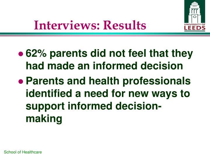 Interviews: Results