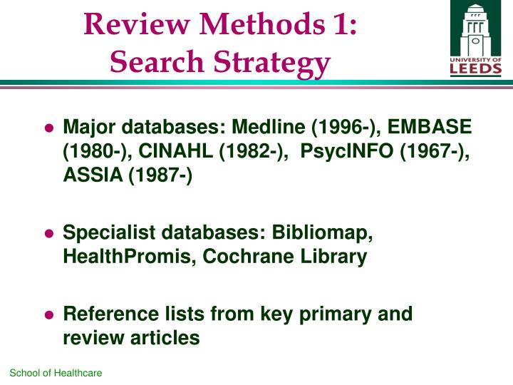Review Methods 1: