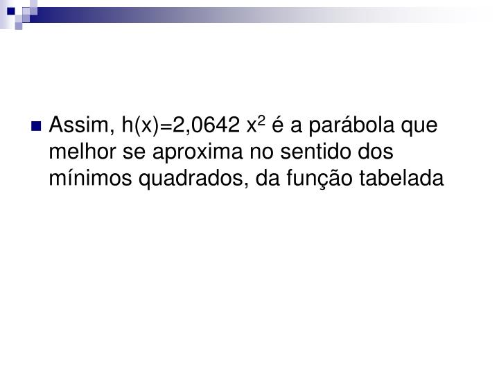 Assim, h(x)=2,0642 x