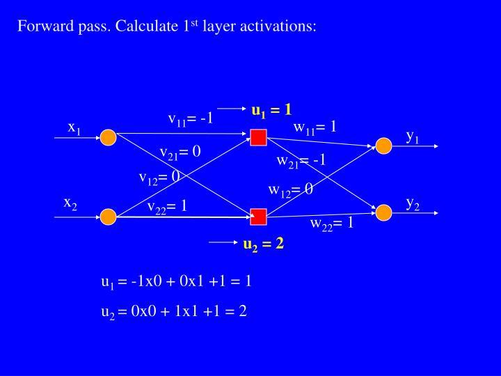 Forward pass. Calculate 1