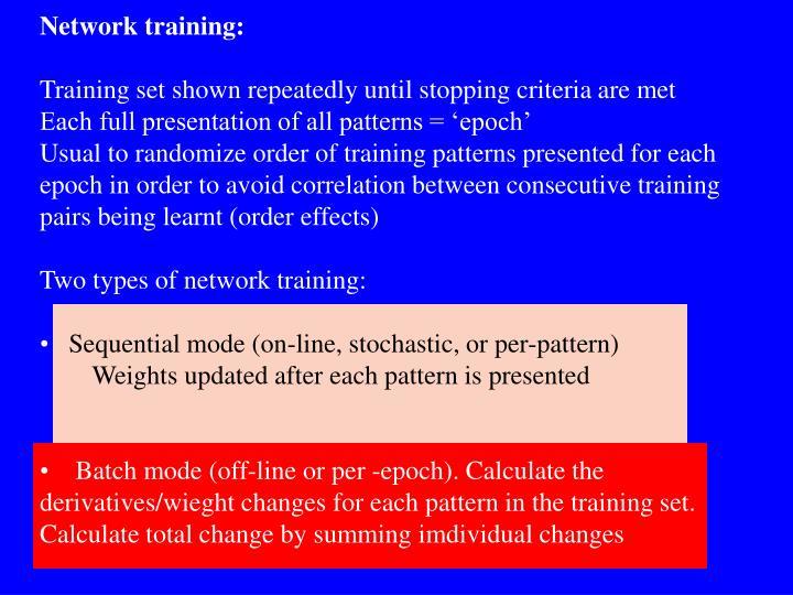 Network training: