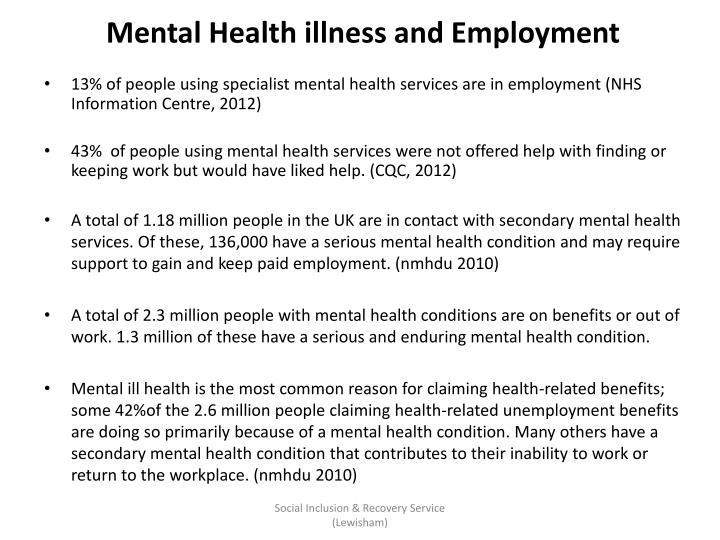 Mental Health illness and Employment