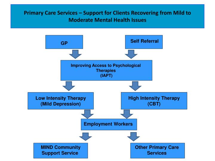 Primary Care Services – Support for Clients Recovering from Mild to Moderate Mental Health Issues