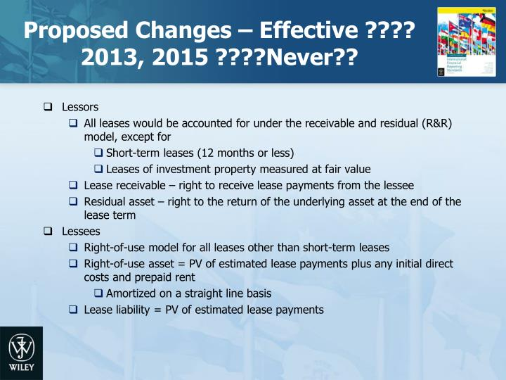 Proposed Changes – Effective ???? 2013, 2015 ????Never??