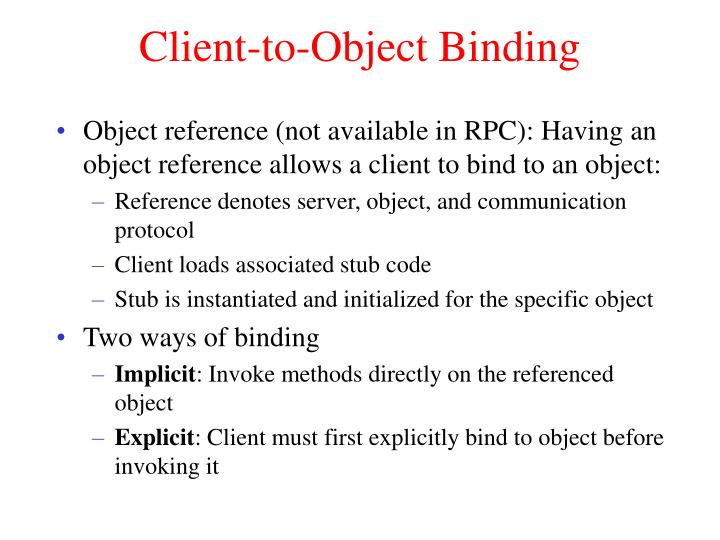 Client-to-Object Binding