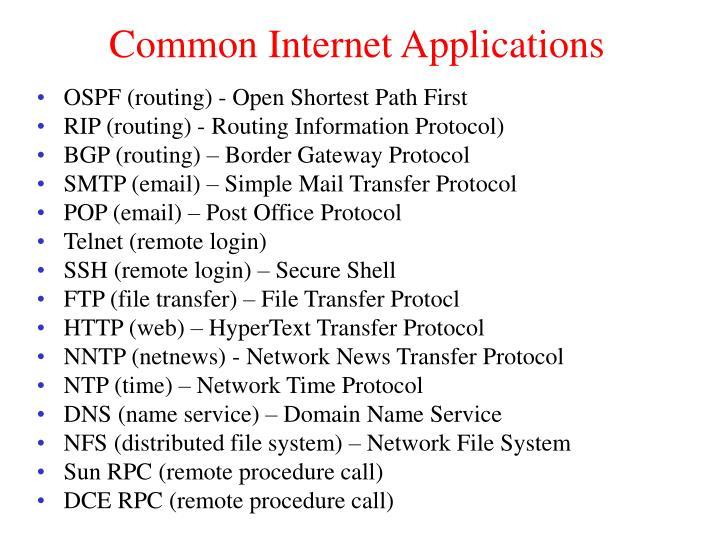 Common Internet Applications