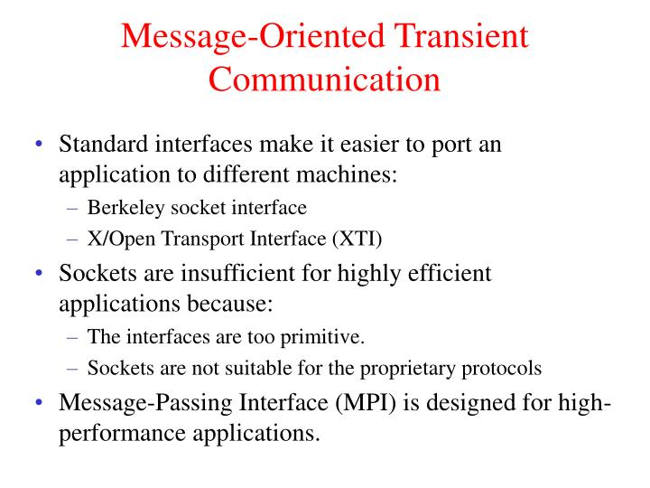 Message-Oriented Transient Communication