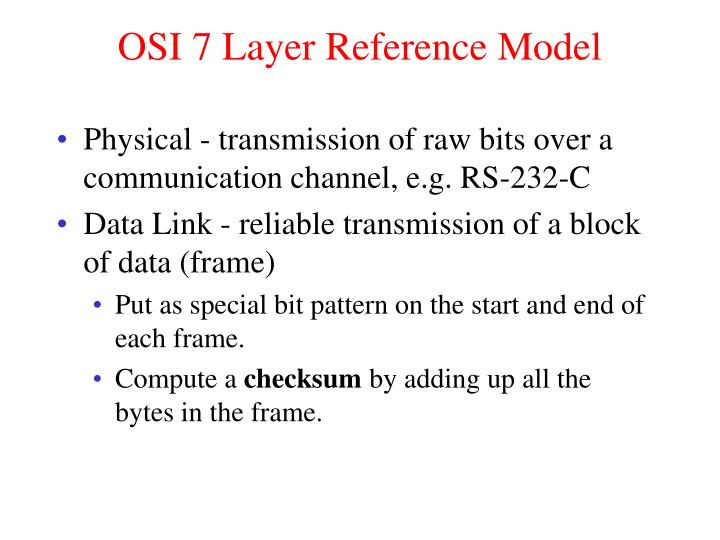 OSI 7 Layer Reference Model
