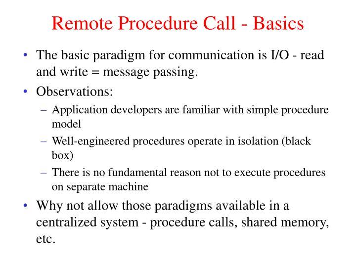 Remote Procedure Call - Basics