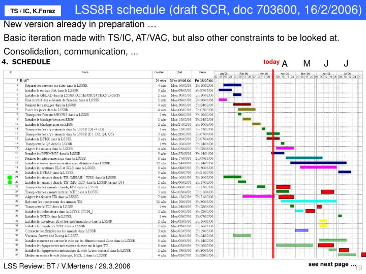 LSS8R schedule (draft SCR, doc 703600, 16/2/2006)
