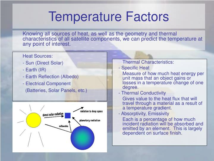Knowing all sources of heat, as well as the geometry and thermal characteristics of all satellite components, we can predict the temperature at any point of interest.