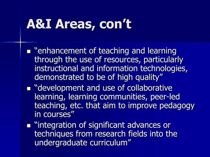 A&I Areas, con't
