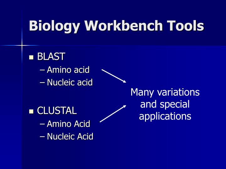 Biology Workbench Tools