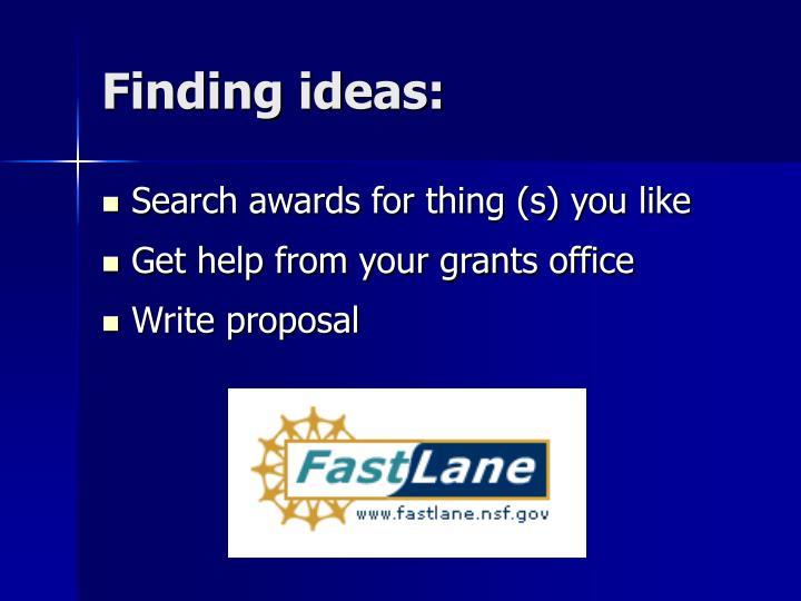Finding ideas: