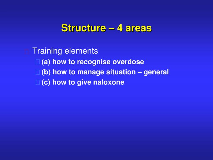 Structure – 4 areas