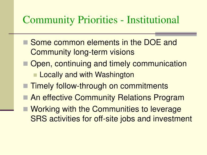 Community Priorities - Institutional