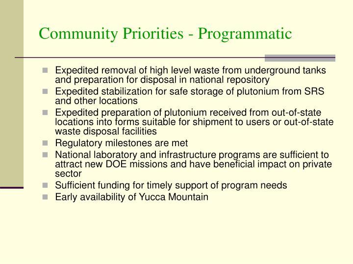 Community Priorities - Programmatic