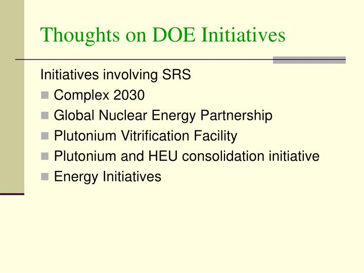 Thoughts on DOE Initiatives