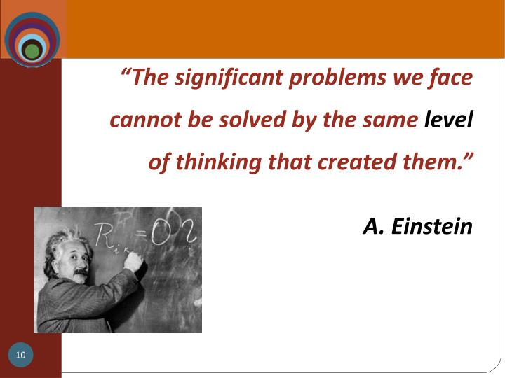 """""""The significant problems we face cannot be solved by the same"""