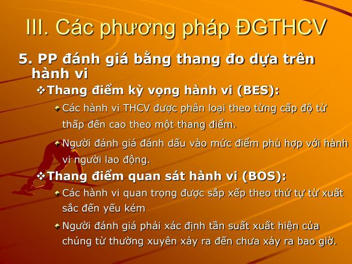 III. Các phương pháp ĐGTHCV