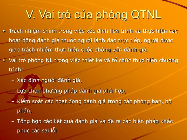 V. Vai trò của phòng QTNL