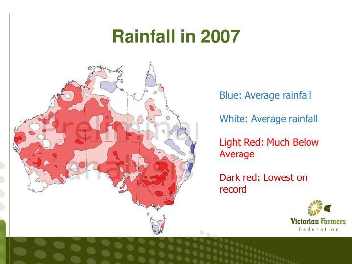 Rainfall in 2007