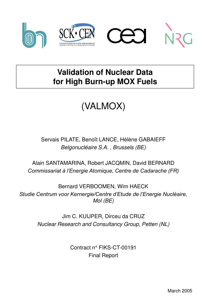 Validation of nuclear data for high burn up mox fuels