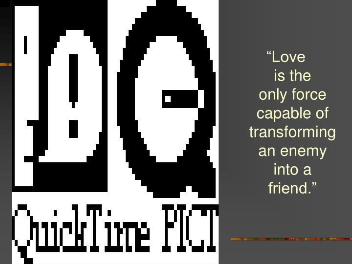 """""""Love              is the       only force capable of transforming an enemy into a   friend."""""""