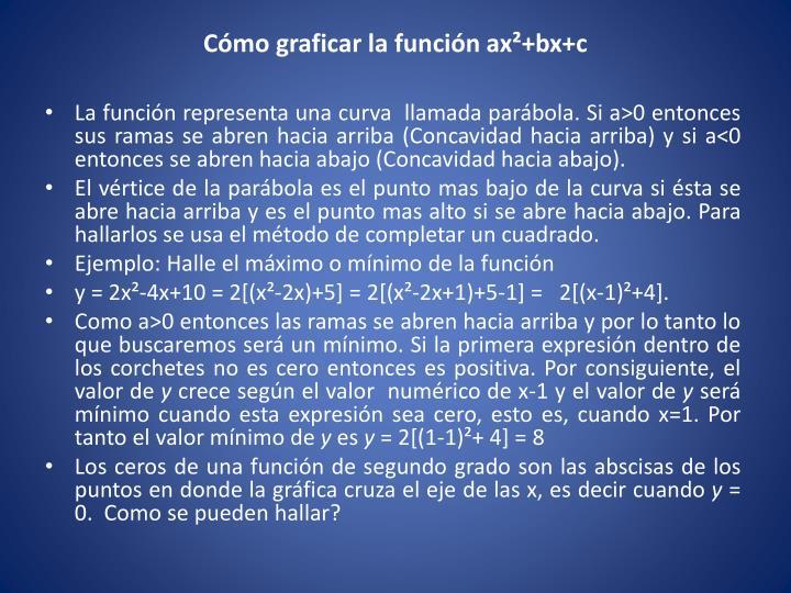 Cómo graficar la función ax²+bx+c