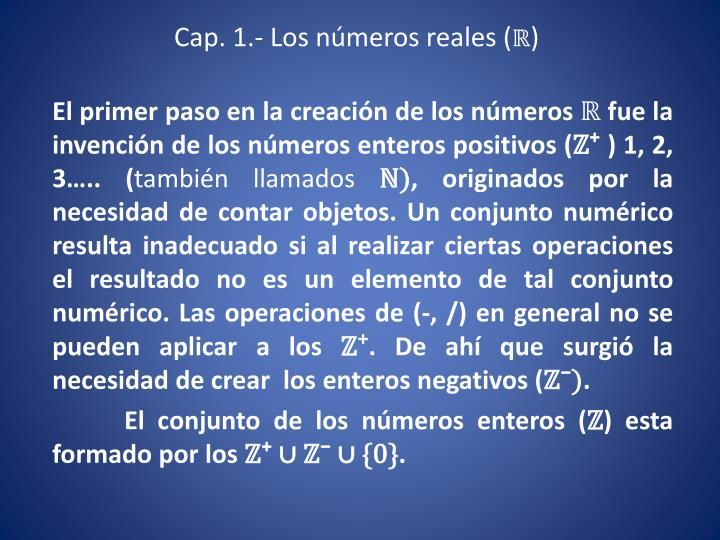 Cap. 1.- Los números reales (