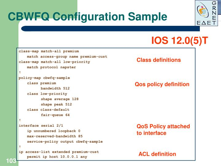 CBWFQ Configuration Sample
