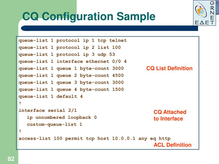CQ Configuration Sample