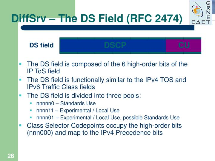 DiffSrv – The DS Field (RFC 2474)