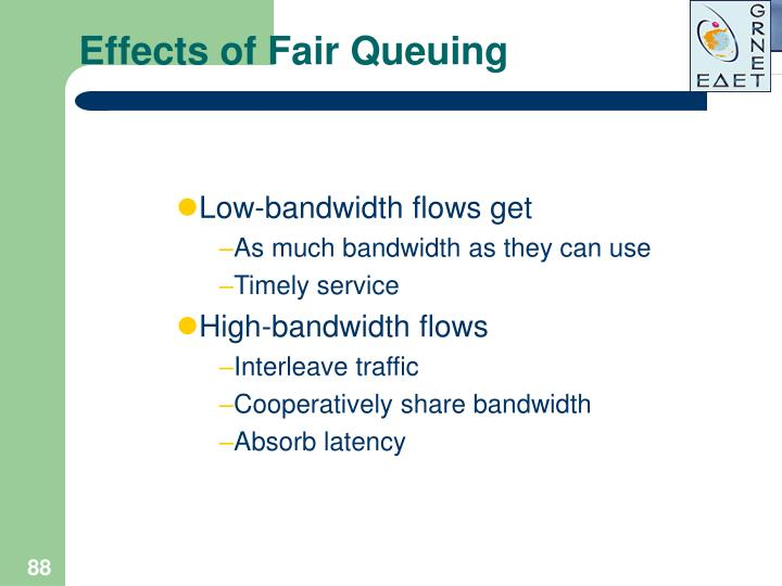 Effects of Fair Queuing