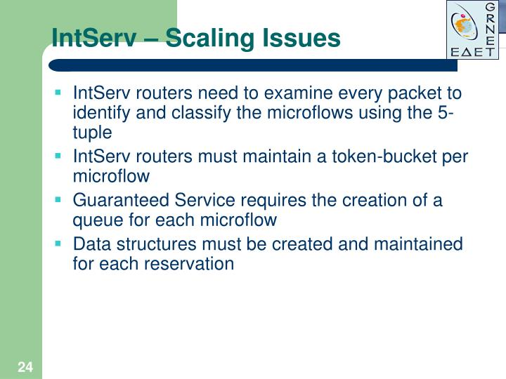 IntServ – Scaling Issues