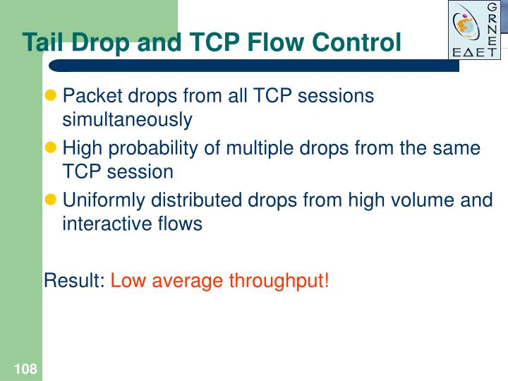 Tail Drop and TCP Flow Control
