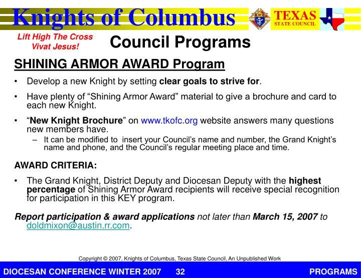 SHINING ARMOR AWARD Program