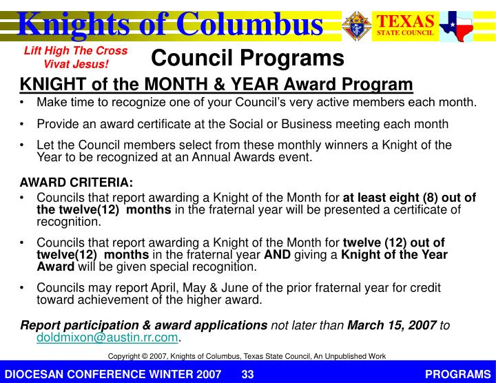 KNIGHT of the MONTH & YEAR Award Program