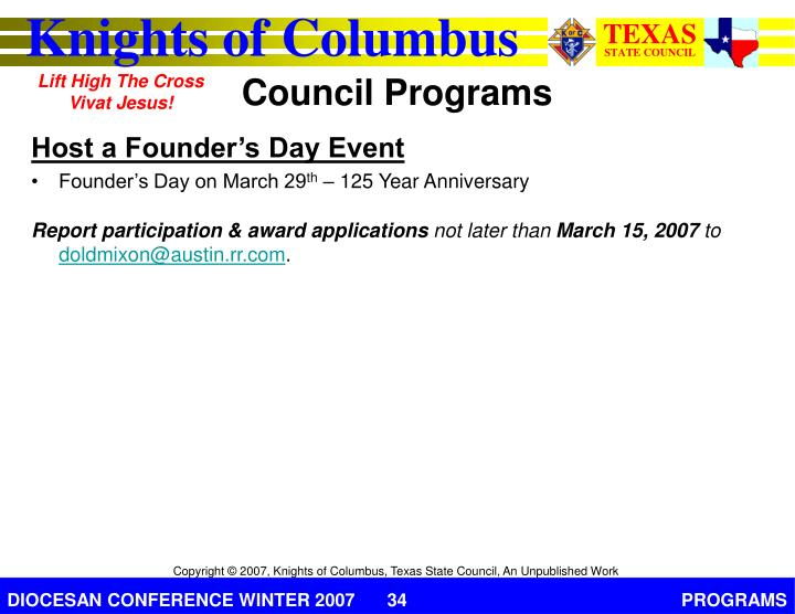 Host a Founder's Day Event