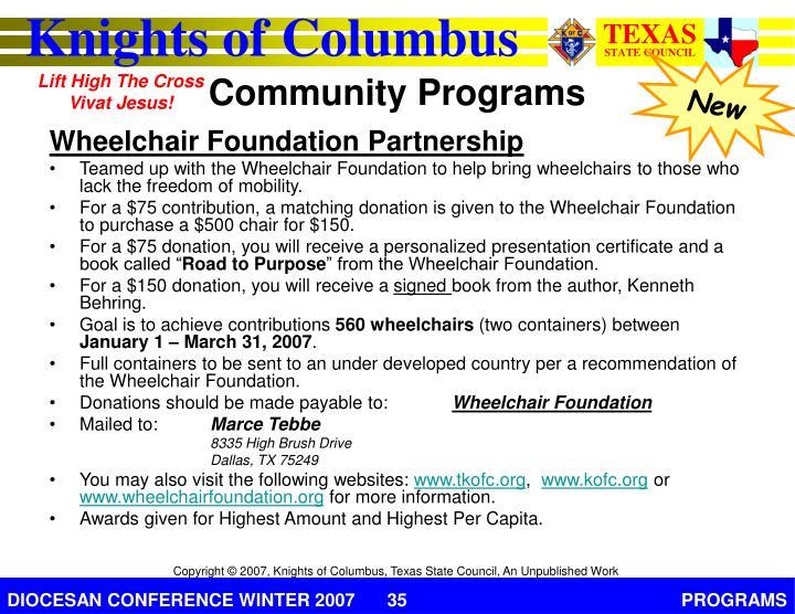 Wheelchair Foundation Partnership