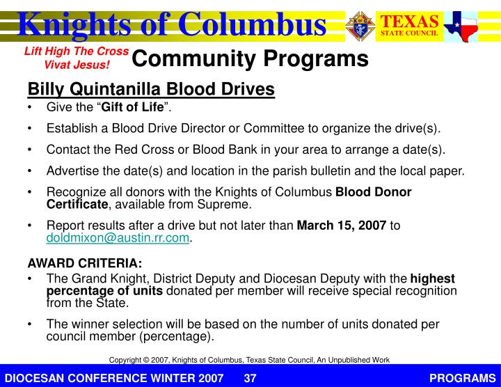 Billy Quintanilla Blood Drives