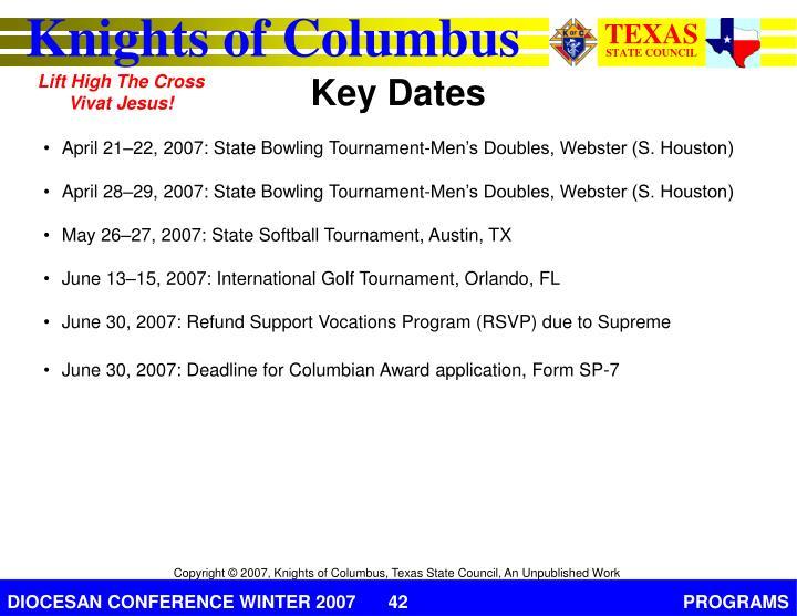 April 21–22, 2007: State Bowling Tournament-Men's Doubles, Webster (S. Houston)