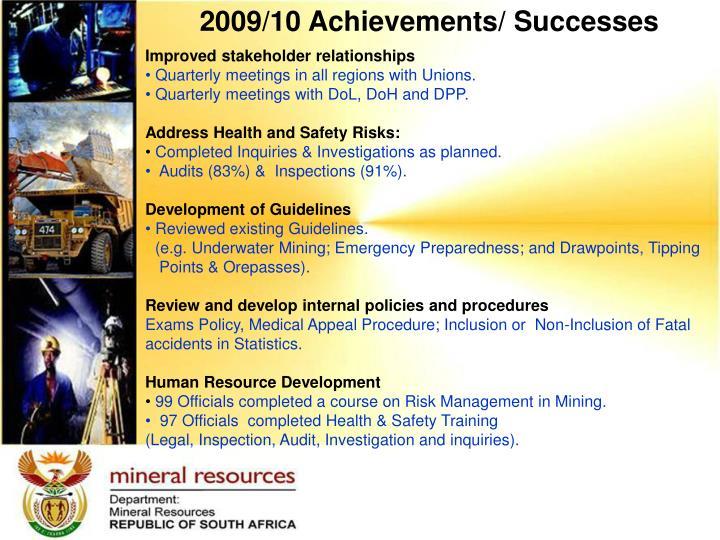 2009/10 Achievements/ Successes