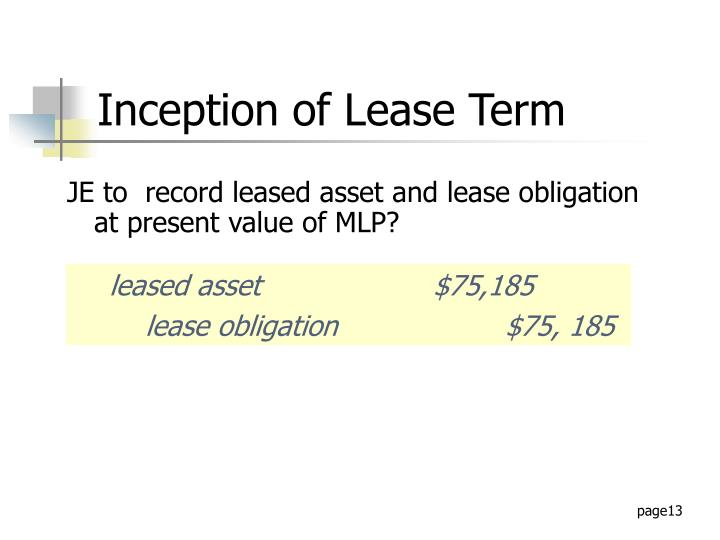 JE to  record leased asset and lease obligation at present value of MLP?
