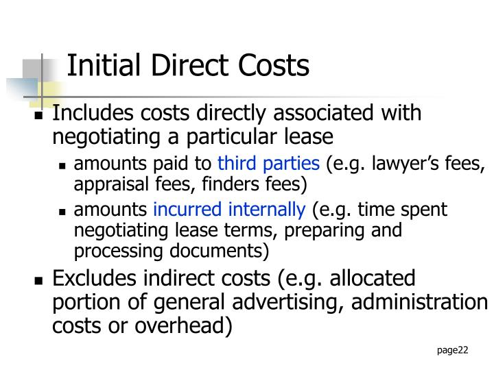 Includes costs directly associated with negotiating a particular lease
