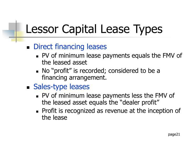 Lessor Capital Lease Types